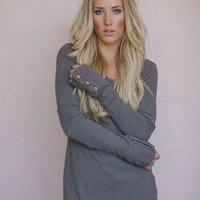 Wonderland Long Sleeved Button Cuff Henley Top - Toast