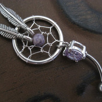 Purple Dream Catcher Belly Button Ring- Dreamcatcher Navel Piercing