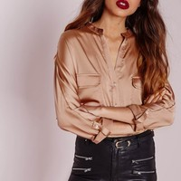 Missguided - Silky Pocket Detail Shirt Gold
