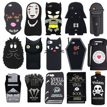 Black Dark Cool Mask Face Batman Star Wars Cat Book Bottle Cover Silicone Phone Case for iPhone 7 6 6S Plus 5 5S SE 5C