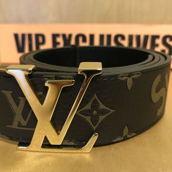 Louis Vuitton X Supreme Monogram Belt Brown Leather *RARE* LV SZ 40 95 MP016T