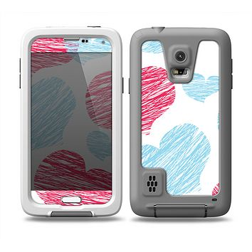 The Red and Blue Lopsided Loop-Hearts Skin Samsung Galaxy S5 frē LifeProof Case