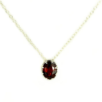 Sterling Silver 3 Carat Red Garnet Gemstone Pendant Necklace - Solid Sterling Silver Setting - Fine 925 Silver Chain - January Birthstone