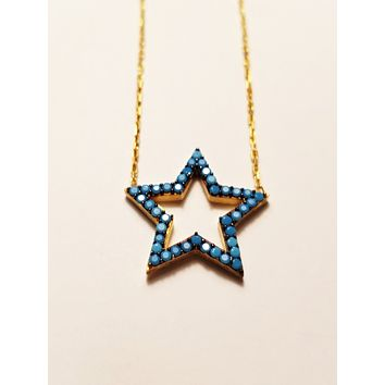 925 Sterling Silver Blue Zirconia Star Necklaces