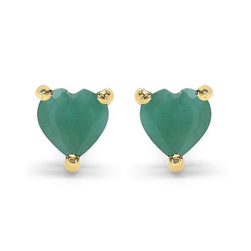 0.50 Carat Genuine Emerald 10K Yellow Gold Earrings