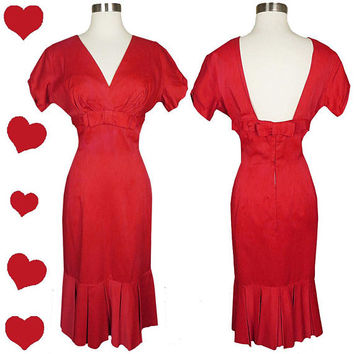 Vintage 50s Dress S Small Red Satin Cocktail Party Prom Wiggle Mermaid Skirt Rockabilly Pinup Valentine's Day Valentine Bombshell Bows 1950s