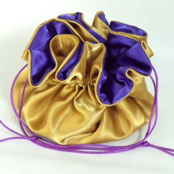 Wedding Bag  Satin Bridal Money Purse  Gold with Royal Purple  Lining  No Pockets