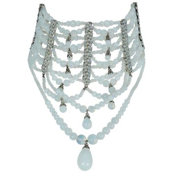 Christian Dior by John Galliano Rare Runway Opalescent Drapery Chocker Necklace