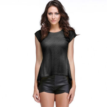 Women's Vintage Lace Peplum Hem Slim Casual Party Tops T-shirt