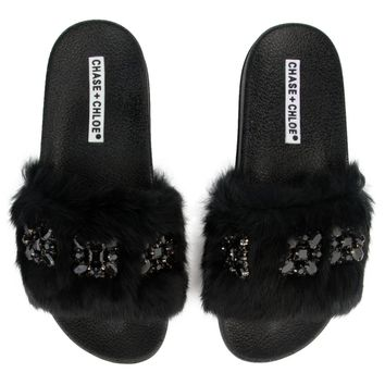 Women's Furry Black Slides