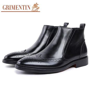 Men Ankle Boot Genuine Leather Black Vintage Brogue Casual Male Dress Boots Shoes