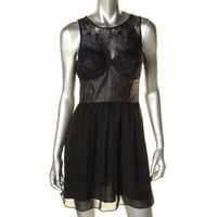 Guess Womens Chiffon Faux Suede Trim Clubwear Dress