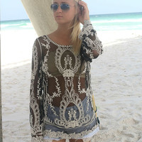 Sundial Beach Black Lace And Crochet Sheer Long Sleeve Top