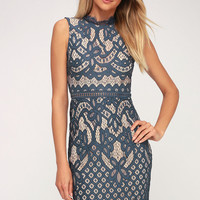 Adra Dusty Blue Lace Midi Dress