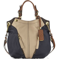 Victoria Colorblock Shoulder Bag, Sand/Navy