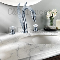 Swan Crystal Handle Bathroom Sink Faucet 3 Hole Chrome