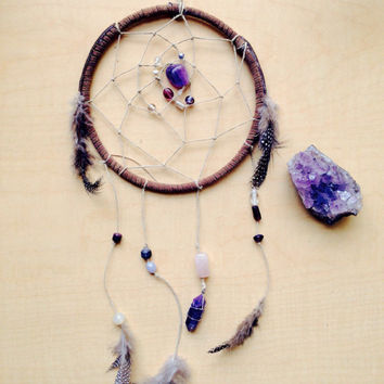 Healing Gemstone Amethyst Rose Quartz Dreamcatcher Wall Hanging