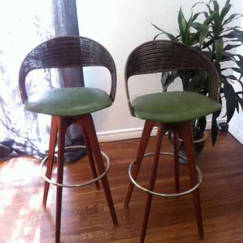 Set of Mid Century Modern Teak & Wicker Bar Stools