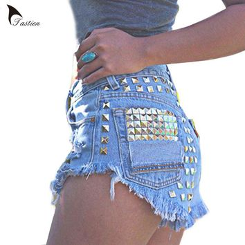 TASTIEN Vintage Rivet High Waist Denim Shorts Women Tassel Ripped Loose Short Jeans Punk Sexy Hot Summer Fashion Short Pants