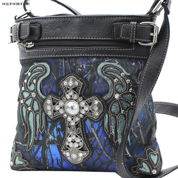 Blue Mossy Camo Wing and Cross Crossbody Purse