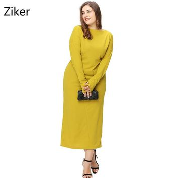 Plus Size Winter Women Dresses New Fashion Long Sleeve Mid-Calf Length Loose Dress Big Size Casual Dress L-3XL