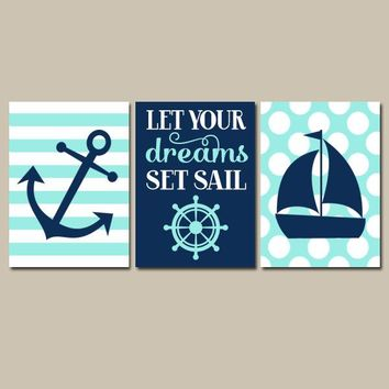 BOY NAUTICAL Wall Art, Nautical CANVAS or Prints, Coastal Baby Boy Nursery Decor, Anchor Sailboat Decor, Dreams Set Sail, Set of 3 Pictures