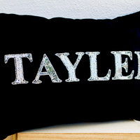 Personalized pillows- Black velvet cushion covers -Decorative silver throw pillow with monogrammed name -Silver sequin pillow -lumbar pillow