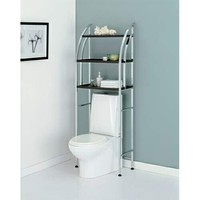 Chrome finish metal and espresso finish wood bathroom eterge over toilet shelf unit