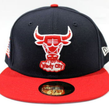 New Era Men's Chicago Bulls Windy City USA Flag Black Fitted Hat 7 1/4