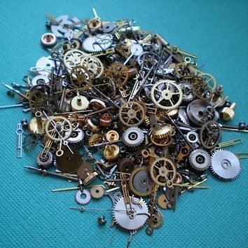 Vintage steampunk watch parts, 1/2 ounce - Lots of tiny gears, wheels, hands and stems