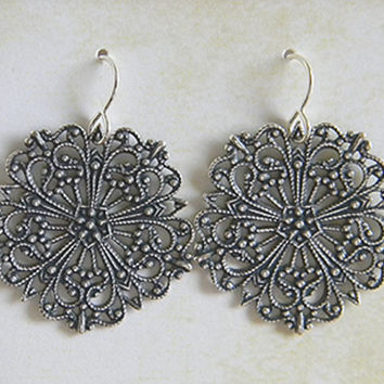 Silver Ox Filigree Earrings Victorian Dangle 30mm x 40mm - 1 pair