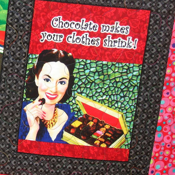 Retro Housewives Lap Quilt or Wall Hanging in Moda's Olive Sandwiches Keep it Sassy Collection