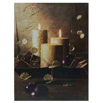 "LED Lighted Shimmering Gold Glittered Candles Christmas Canvas Wall Art 15.75"" x 12"""