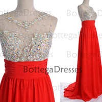 Red Prom Dresses, 2014 Red Lace Prom Gown, Straps with Open Back Lace and Chiffon Long Red Prom Dresses, Fomal Dresses