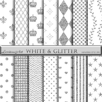 Digital Paper white and silver glitter digital background for scrapbooking,invites,cards,web design,Instant Download