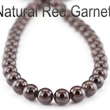 PN-001 Natural Grade A Red Garnet Sterling Silver Unisex Choker Necklace.
