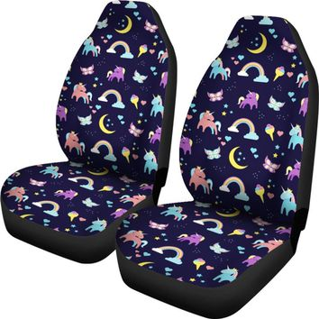 Cute Unicorn Rainbow Butterfly Print Universal Fit Car Seat Covers