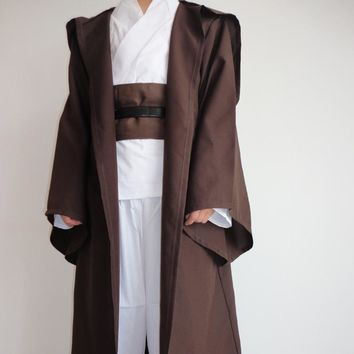 Star Wars Force Episode 1 2 3 4 5  Robe Adult Hooded Robe Jedi Kinight Cosplay Black/Brown Cloak Cape Anakin Skywalker Obi- Wan 6 size AT_72_6