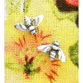Tiny Antiqued Bumble or Honey Bee Earrings