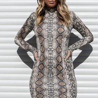 Lover Not A Fighter Mock Neck Snake Skin Dress