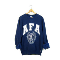 Navy Blue AIR FORCE ACADEMY Sweatshirt Athletic Pullover Sweater Slouchy Sports Sporty Prep Workout College Top Womens Size Medium