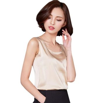 New  6 Color Candy Colors Tops Vest 2018 Women Summer Sleeveless Short Tank Tops Imitated Silk Tank Top Women Clothes rorh