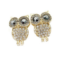 lady Women's Korean Jewelry Full Rhinestone Owl Cute Crystal Stud Earrings Fashion Accessories New Design ssldd (Size: One Size, Color: Gold) = 1946118532