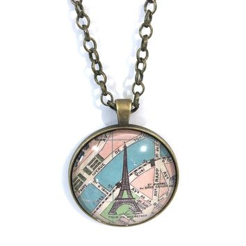 Paris Vintage Map with Eiffel Large Pendant