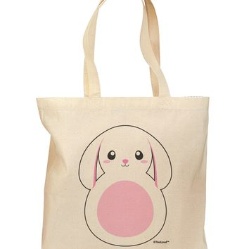 TooLoud Cute Bunny with Floppy Ears - Pink Grocery Tote Bag