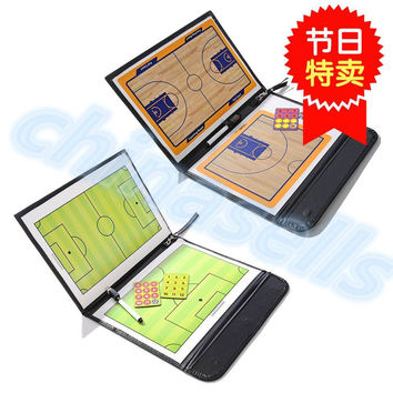 soccer Coach Match Training Tactical Plate Coaching Board Kits Magnetic Chess Pieces Foldable Coach Board PU Cover