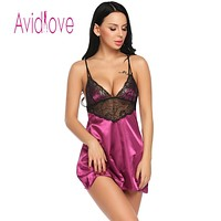 Nightgown Sexy Satin Chemise Women Lace Patchwork Sleepwear with G-String