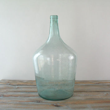 Vintage Large Hand Blown Glass Demijohn Bottle