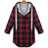 Fashion Trendy H&M style Japanese Jpop Kpop Swag Plaid Flannel Hoodie Drawstring SQ12017