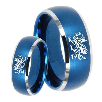 His Her Satin Blue Dome Dragon Two Tone Tungsten Wedding Rings Set